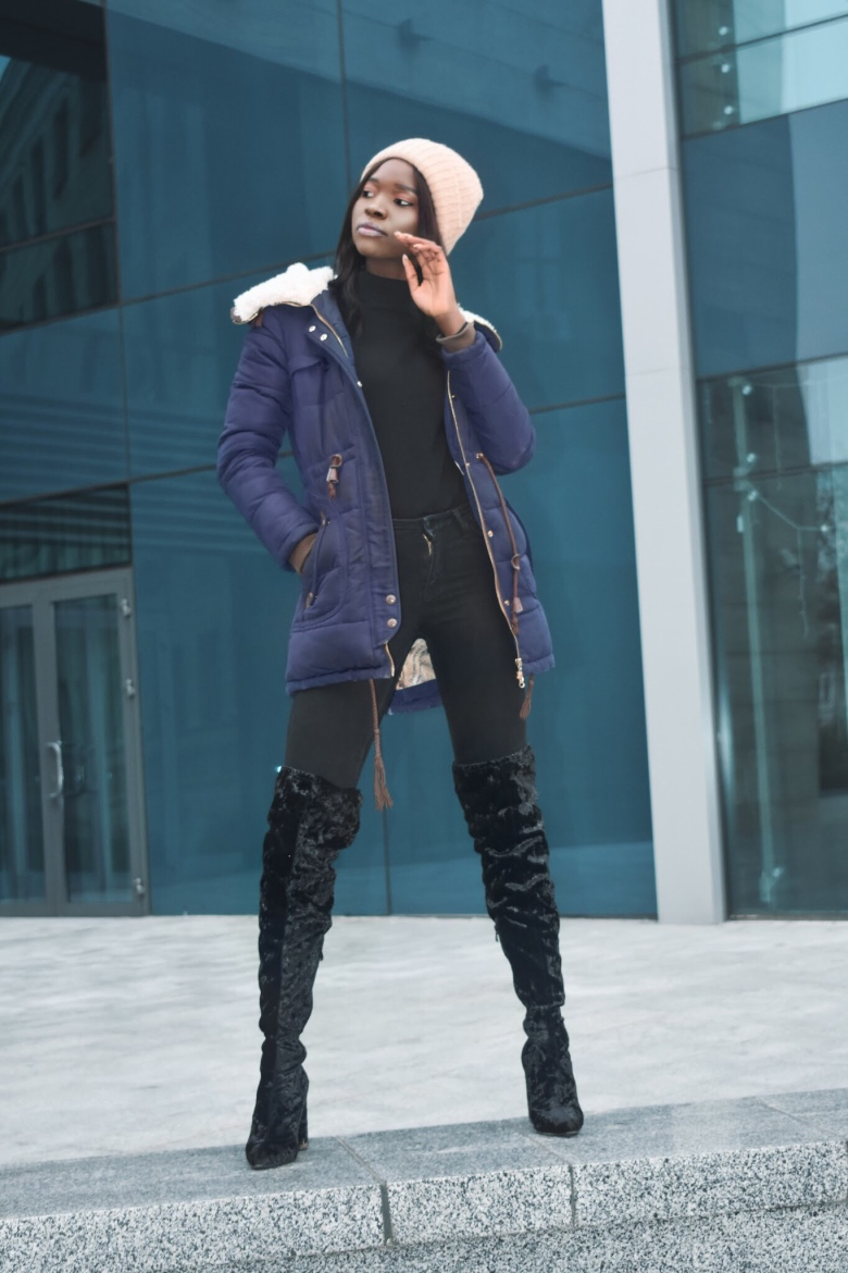 thigh High boots and Head warmers